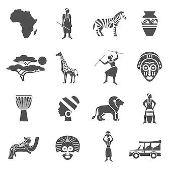 Conjunto de iconos blanco negro de áfrica