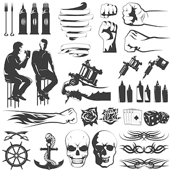 Conjunto de iconos blanco negro tatuaje