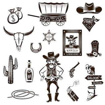 Conjunto de iconos blanco negro vaquero