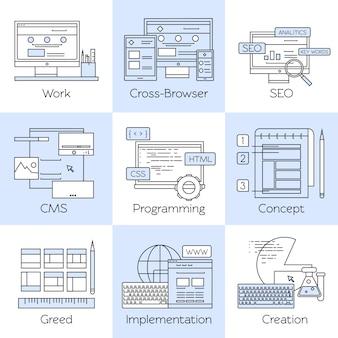 Conjunto de iconos blancos de línea de diseño web
