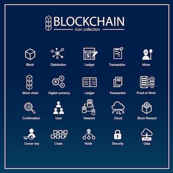 Conjunto de iconos de blockchain