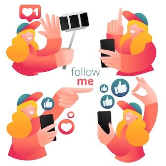 Conjunto de iconos con blogger femenina que usa el teléfono móvil y las redes sociales para promover servicios y productos para seguidores en línea.