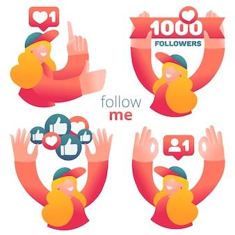 Conjunto de iconos con blogger femenino que utiliza las redes sociales para promover servicios y bienes para seguidores en línea.