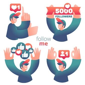 Conjunto de iconos con blogger masculino que utiliza las redes sociales para promover servicios y bienes para seguidores en línea.