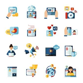 Conjunto de iconos de blogger