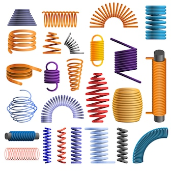 Conjunto de iconos de la bobina, estilo de dibujos animados