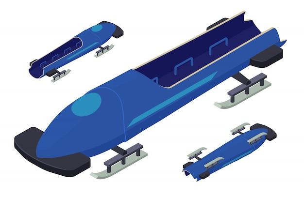 Conjunto de iconos de bobsleigh, estilo isométrico