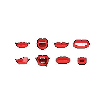 Conjunto de iconos de boca de dibujos animados de pixel art.
