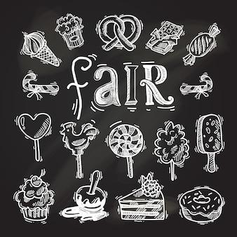 Conjunto de iconos de boceto de dulces pizarra