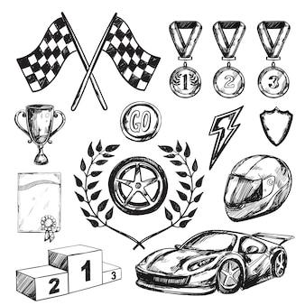Conjunto de iconos de boceto de premio deportivo