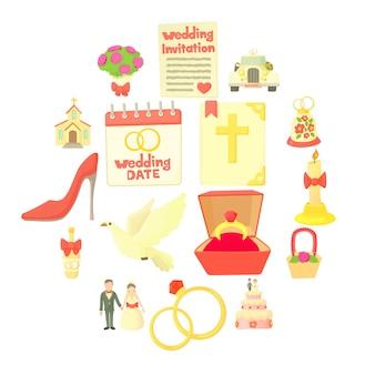 Conjunto de iconos de boda, estilo de dibujos animados