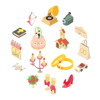 Conjunto de iconos de boda, estilo isométrico