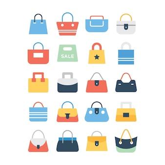 Conjunto de iconos de bolsa de compras