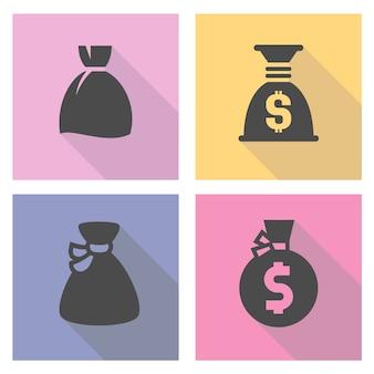 Conjunto de iconos de bolsa de dinero