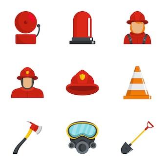 Conjunto de iconos de bombero, estilo de dibujos animados