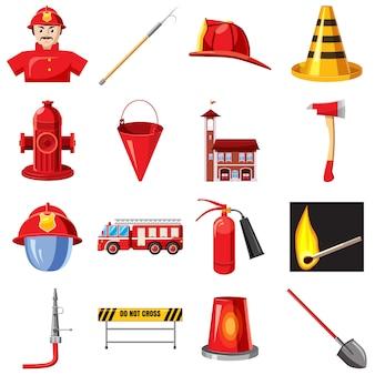 Conjunto de iconos de bomberos, estilo de dibujos animados