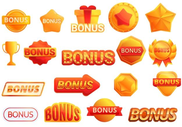 Conjunto de iconos de bonificación, estilo de dibujos animados