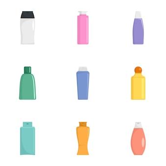 Conjunto de iconos de botella de crema, estilo plano