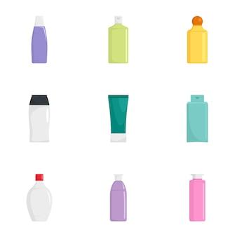 Conjunto de iconos de botella de cuidado de la piel, estilo plano