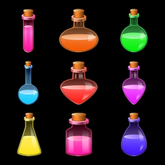 Conjunto de iconos de botella mágica poción