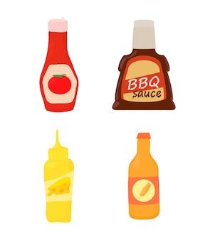 Conjunto de iconos de botella de salsa