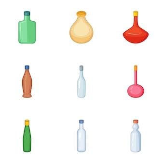 Conjunto de iconos de botella vacía, estilo de dibujos animados