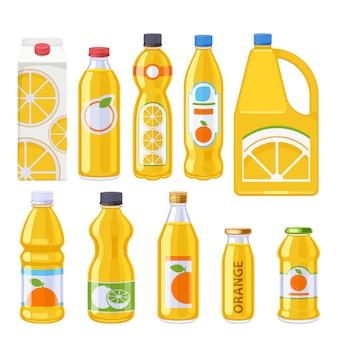 Conjunto de iconos de botellas de jugo de naranja.