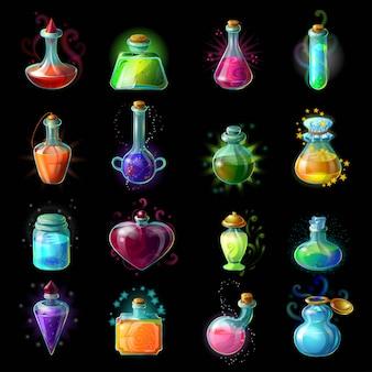 Conjunto de iconos de botellas mágicas