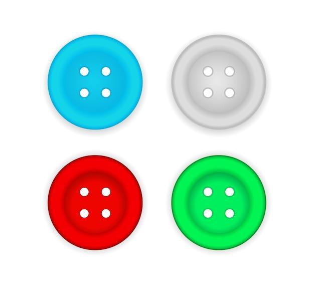 Conjunto de iconos de botón de costura de color
