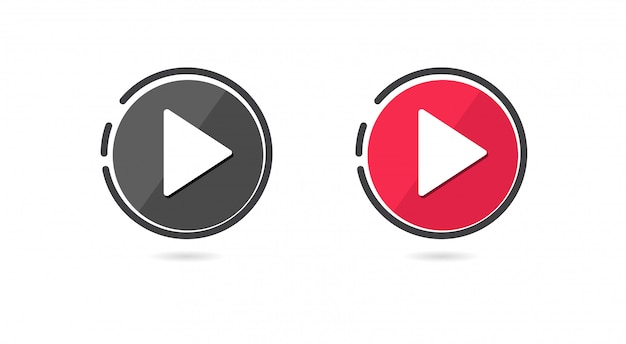 Conjunto de iconos de botón de reproducción.