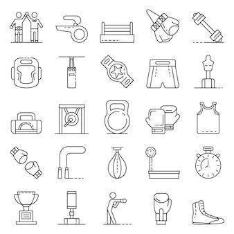 Conjunto de iconos de boxeo, estilo de contorno