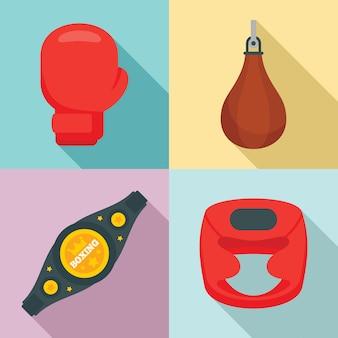 Conjunto de iconos de boxeo, estilo plano