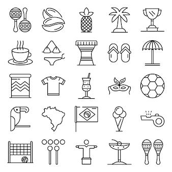 Conjunto de iconos de brasil, estilo de contorno