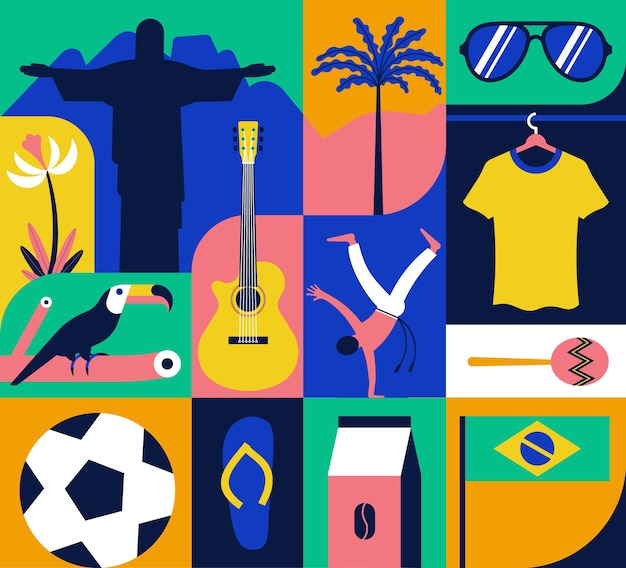 Conjunto de iconos de brasil, patrón, fondo de color. estatua, flor, tucán, fútbol, guitarra, capoeira, café, palmera, camiseta, maracas, bandera, lentes de sol, chanclas.