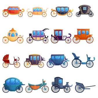 Conjunto de iconos de brougham, estilo de dibujos animados
