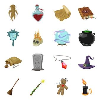 Conjunto de iconos de brujería y dibujos animados mágicos.