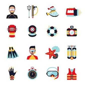 Conjunto de iconos de buceo