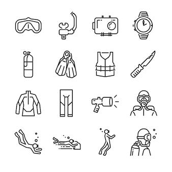 Conjunto de iconos de buceo.