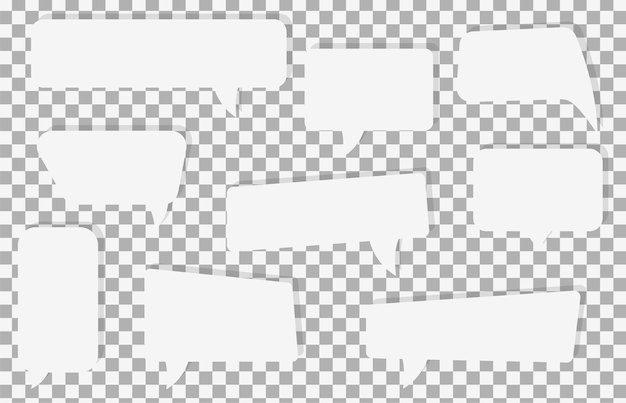Conjunto de iconos de burbujas de discurso de comunicación con sombra