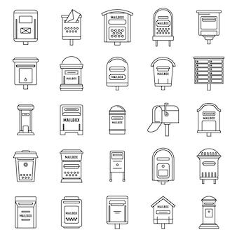 Conjunto de iconos de buzón de metal