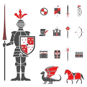Conjunto de iconos de caballeros medievales negro rojo