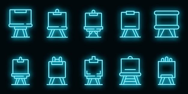 Conjunto de iconos de caballete. esquema conjunto de iconos de vector de caballete color neón en negro