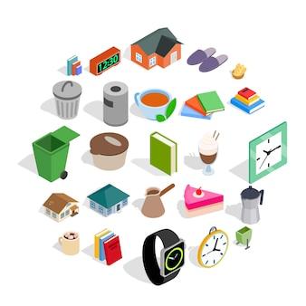 Conjunto de iconos de cabaña, estilo isométrico