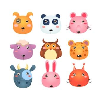 Conjunto de iconos de cabeza animal de dibujos animados