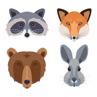 Conjunto de iconos de cabezas de animales de bosque. ilustración plana que incluye oso, conejo, zorro y mapache
