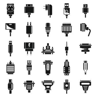 Conjunto de iconos de cable adaptador