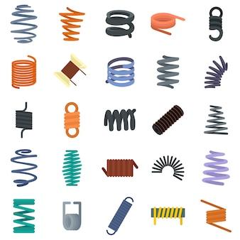 Conjunto de iconos de cable muelle helicoidal