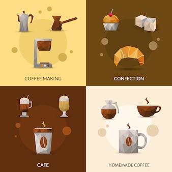 Conjunto de iconos de café y confitería