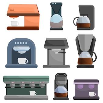 Conjunto de iconos de cafetera, estilo de dibujos animados