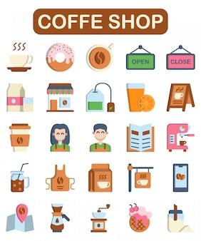 Conjunto de iconos de cafetería, estilo plano